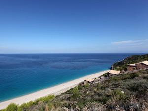 Agios Nikitas Lefkas uitzicht op het strand